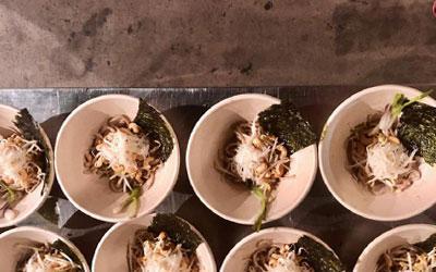 food on the sugarcane bowl