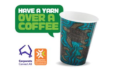 Indigenous Art BioCup with a speech bubble saying – Have a yarn over a coffee