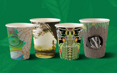 Rainforest Rescue Coffee Cup with rainforest art