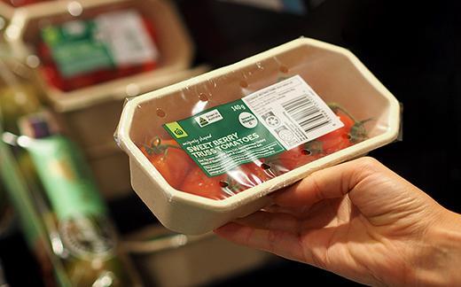 Vine-ripened tomatoes in a 500g sugarcane pulp BioPak fresh produce tray