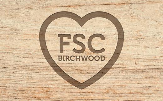 Wood, heart outline FSC birchwood