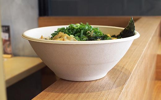 poke bowl in sugarcane bagasse bowl