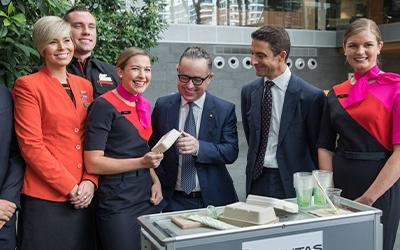 Alan Joyce and the 'Green Team' from Qantas and Jetstar with BioPak packaging