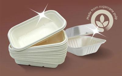 BioPak Biocane takeaway containers with Made from sugarcane pulp statement