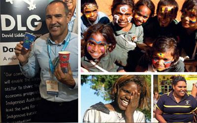 CCAB employee holding BioPak's Indigenous BioCups with Aboriginal & Islander people