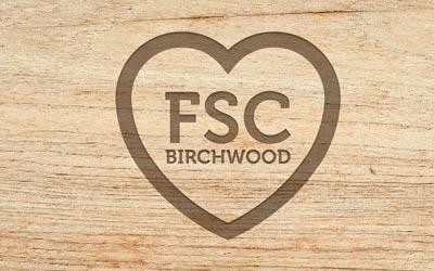 Wood, heart outline FSC birchwood
