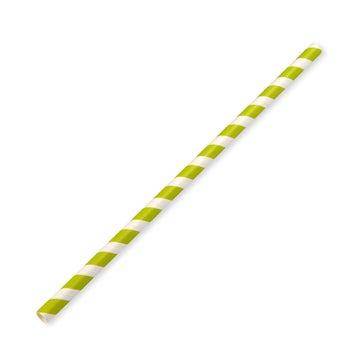 197x8mm Large Green Stripe Paper Straws