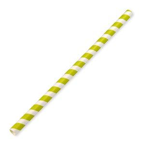 230x10mm Jumbo Green Stripe Paper Straws