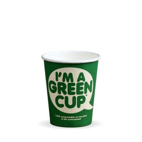 """8oz Single Wall """"I'm a Green Cup"""" Hot BioCups"""