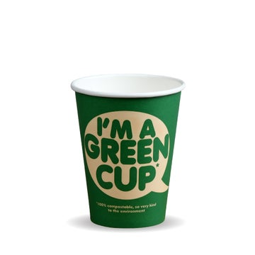 """12oz Single Wall """"I'm a Green Cup"""" Hot BioCups"""