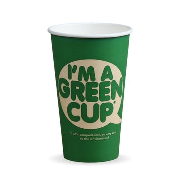 """16oz Single Wall """"I'm a Green Cup"""" Hot BioCups"""