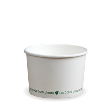 12oz White PLA-Lined Squat Soup Containers