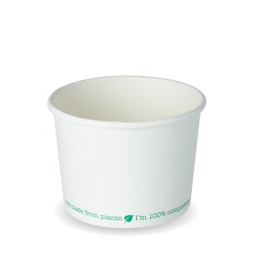 16oz White PLA-Lined Squat Soup Containers