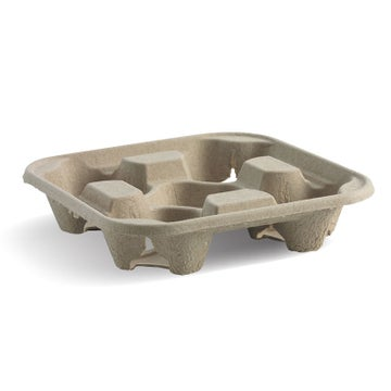 4 Cup Compostable BioCup Tray