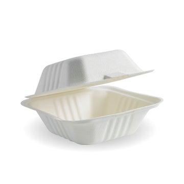 "Sugarcane 6""Burger Clamshell White (400 per box)"