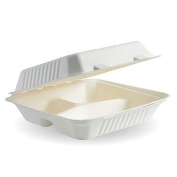 "9x9x3"" 3-Compartment White BioCane Sugarcane Clamshell"