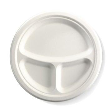 "10"" 3-Compartment Round BioCane Plate"