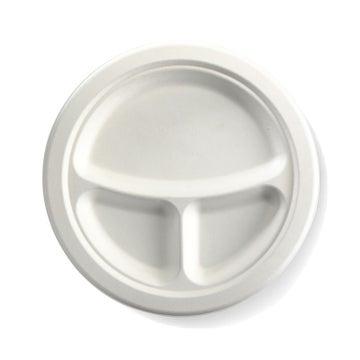 "9"" 3-Compartment Round BioCane Plate"