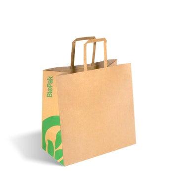 Small Flat Handle Kraft Paper Bags