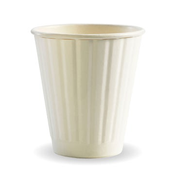8oz (90mm) White BioCup - Double Wall