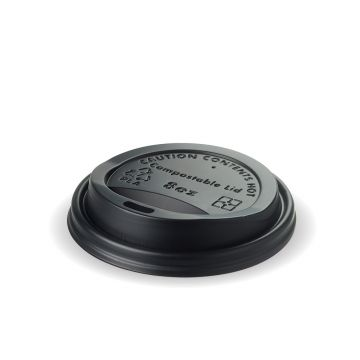 8oz Black Compostable Lid - CPLA (1000)