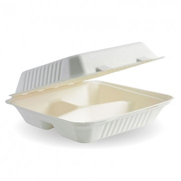 23x23x8cm 3-Compartment White BioCane Clamshell