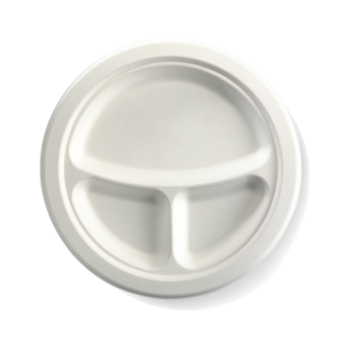 "23cm / 9"" 3-Compartment Round BioCane Plate"