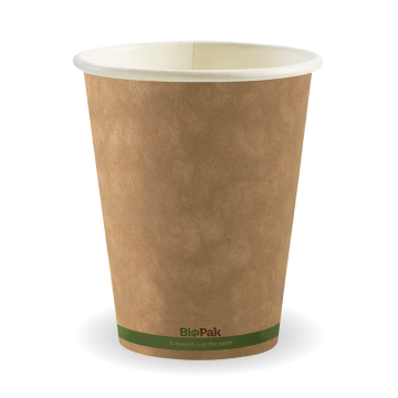 390ml / 12oz (90mm) Kraft Green Stripe Single Wall BioCup