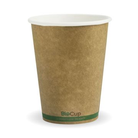 390ml / 12oz (90mm) Kraft Green Stripe Single Wall BioCup