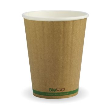 390ml / 12oz (90mm) Kraft Green Stripe Double Wall BioCup