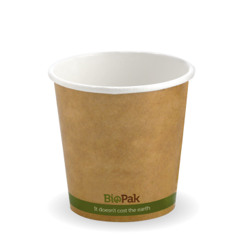 120ml / 4oz (63mm) Kraft Green Stripe Single Wall BioCup