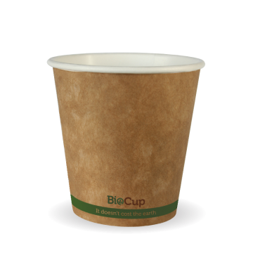 230ml / 6oz (80mm) Kraft Green Stripe Single Wall BioCup