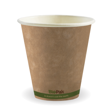 280ml / 8oz (90mm) Kraft Green Stripe Single Wall BioCup