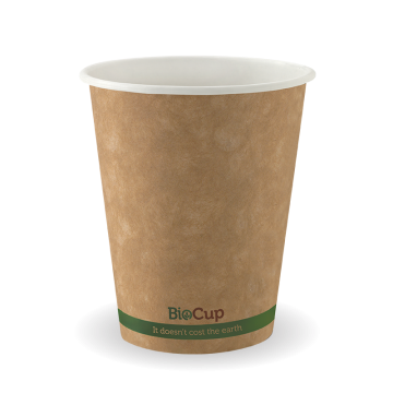 280ml / 8oz (80mm) Kraft Green Stripe Single WallBioCup