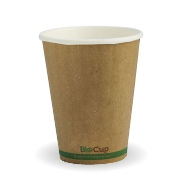 255ml / 8oz (80mm) Kraft Green Stripe Double Wall BioCup