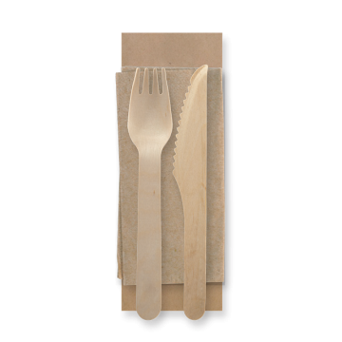 16cm Wooden Knife, Fork & Napkin Set