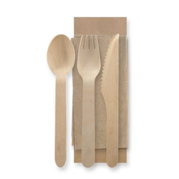 Wooden Cutlery Pack 160mm Coated