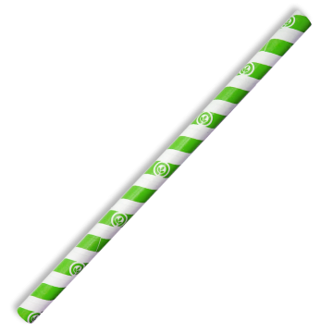 10mm Jumbo Green Stripe BioStraw