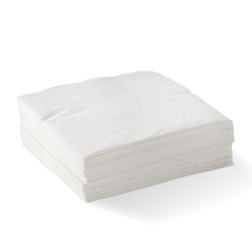 2 Ply 1/4 Fold White Corner Embossed Dinner BioNapkin