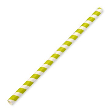 230x10mm Green Stripe Paper Straws Jumbo