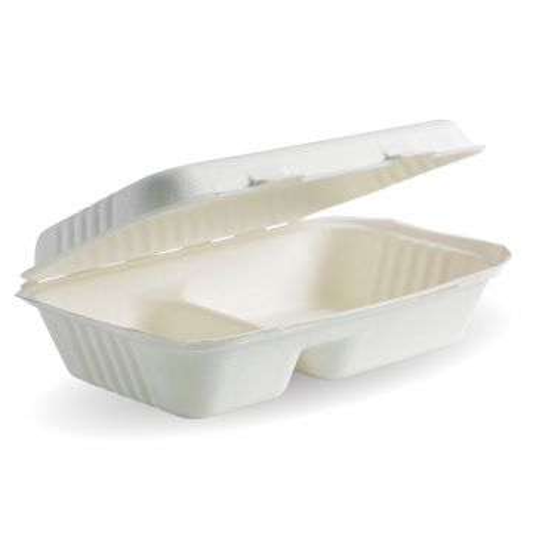"9x6x3"" 2-Compartment White BioCane Clamshell"