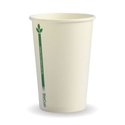 10oz White Green Line BioCup