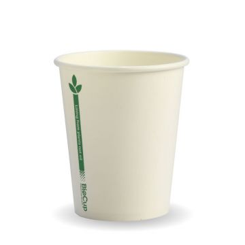 8oz White Green Line BioCup