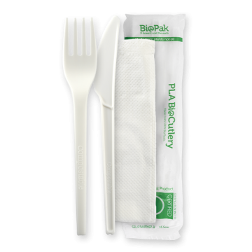 "6.5"" PLA Knife, Fork & Napkin Set"