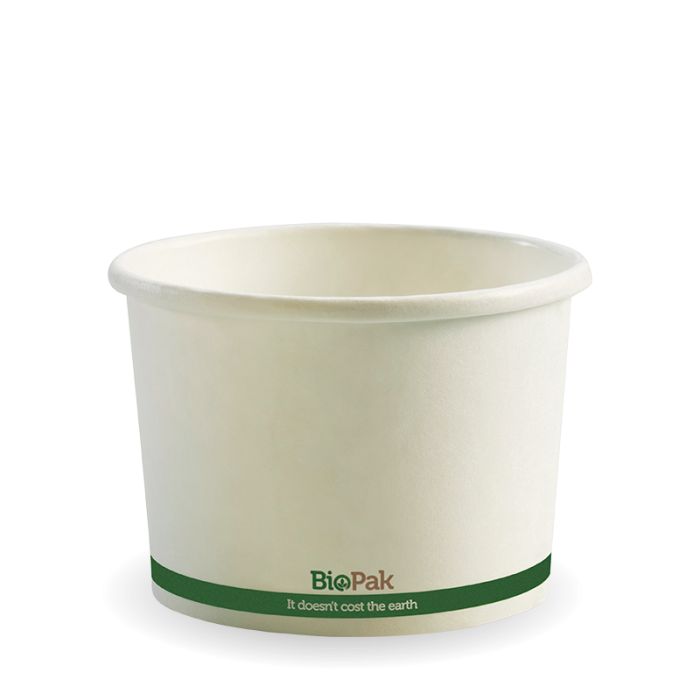 paper bowl 16oz white compostable biobowl biopak biopak