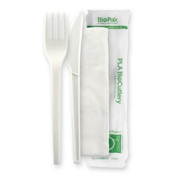 """6.5"""" PLA Knife, Fork & Napkin Set"""