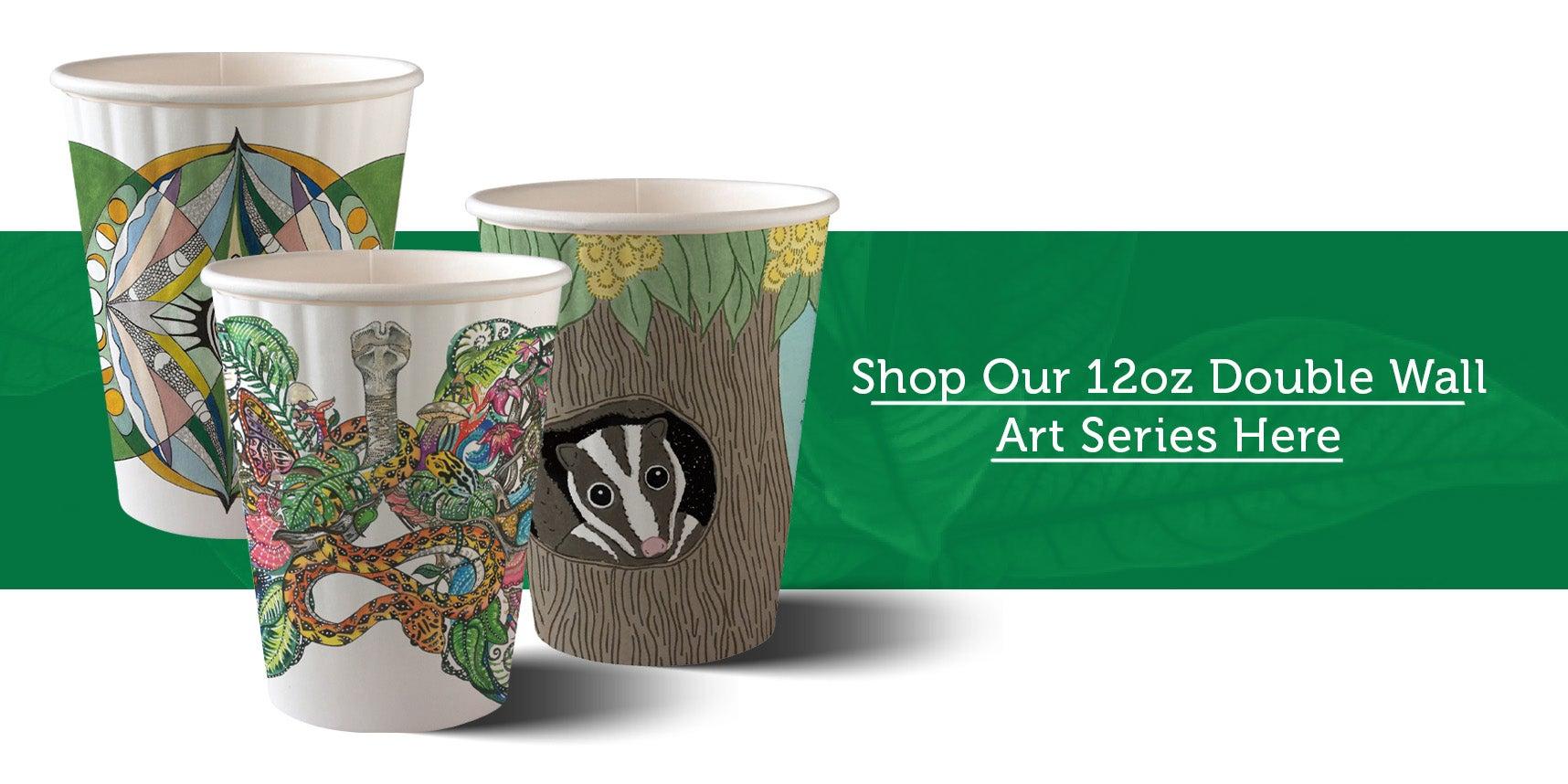 3 8oz single wall art series coffee cups
