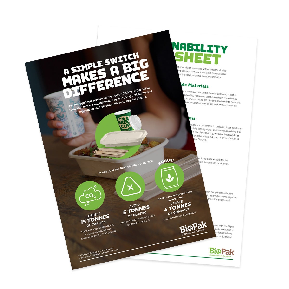 Visual representation of the BioPak Sustainability Fact Sheet flyer.