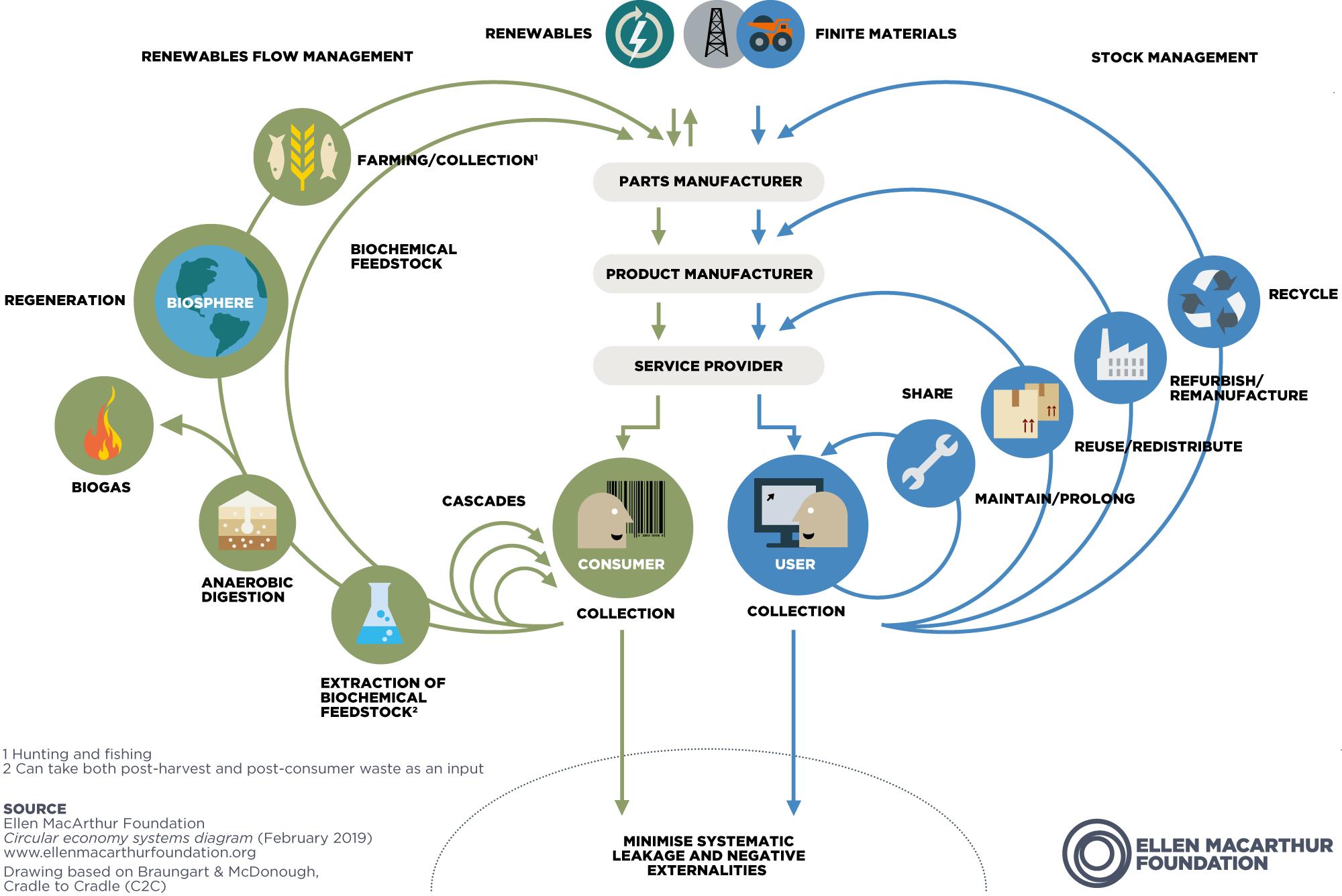 Ellen Macarthur Foundation's circular economy systems diagram.
