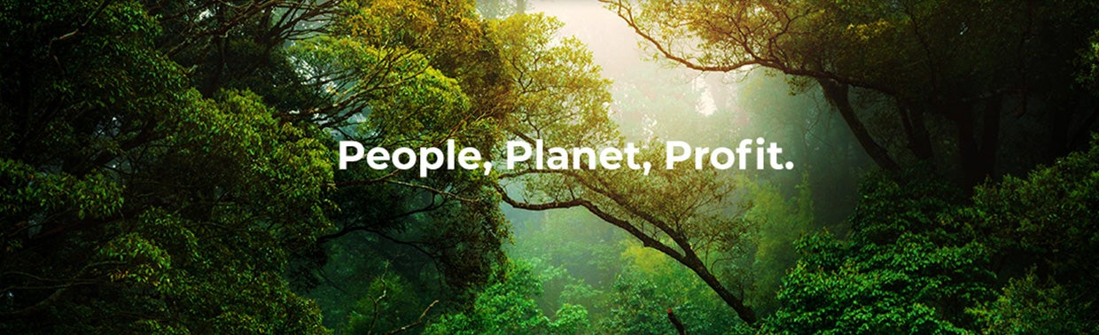 People planet profit with rainforest in the background